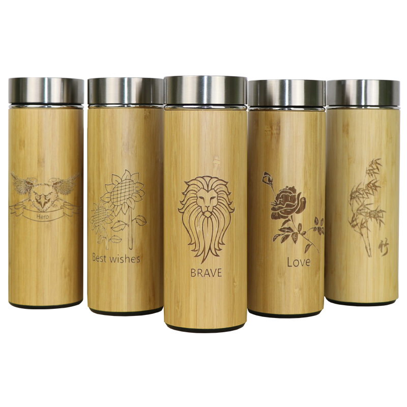 400ml Bamboo Travel Thermos Stainless Steel Bottles For Water Vacuum Flasks Tea Coffee Insulated termos bardak cup Customized