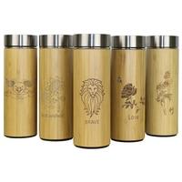 Termos de viaje de bambú de 400 ml  botellas de agua de acero inoxidable  frascos de vacío  taza termos aislada  taza de té bardak personalizada