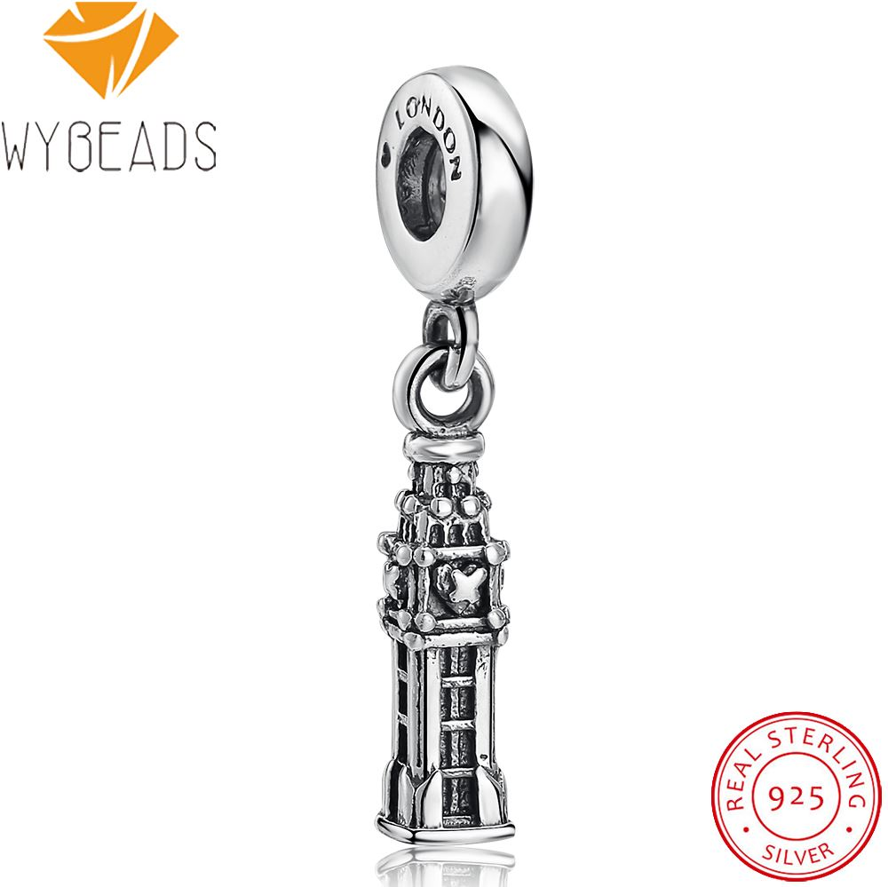 WYBEADS Fine 925 Sterling Silver Big Ben Pendant London Charms European Bead Fit Bracelet & Necklace DIY Accessories Jewelry