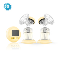 GL Electric Double Breast Pump Massage Portable Electric Pump With Milk Bottle LCD Screen Multinational Double Breast Pump