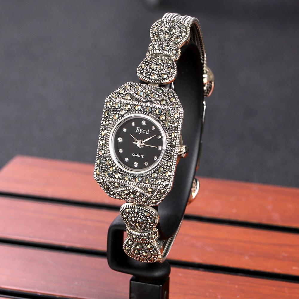 JIASHUNTAI 100% Prata 925 Relógio Do Vintage Para Mulheres Retro Relógio Relógio Pulseiras Do Sexo Feminino Jóias de Prata Esterlina 925 - 2