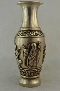 Elaborate Chinese Decorated Old Handwork Tibetan Silver Deer & Immortal Vase