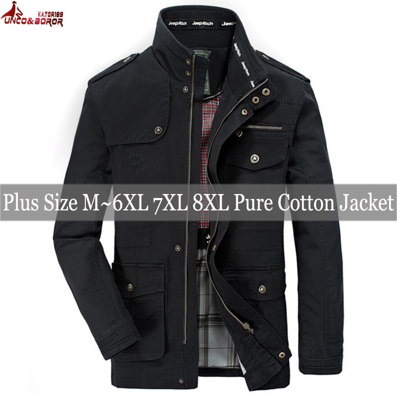 Image 5 - plus size 6XL 7XL 8XL 100% cotton Jackets Men Military Cargo Jackets Tactical Combat Business male Coat Pilot Bomber Jackets men-in Jackets from Men's Clothing