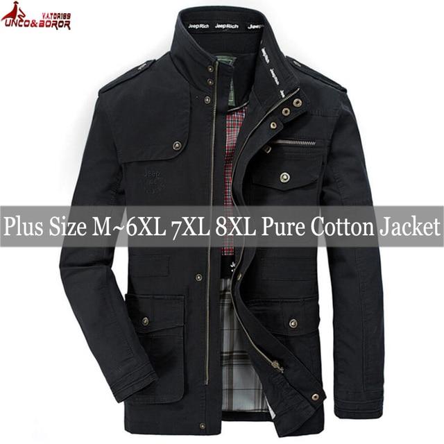 plus size 6XL 7XL 8XL 100% cotton Jackets Men Military Cargo Jackets Tactical Combat Business male Coat Pilot Bomber Jackets men 5