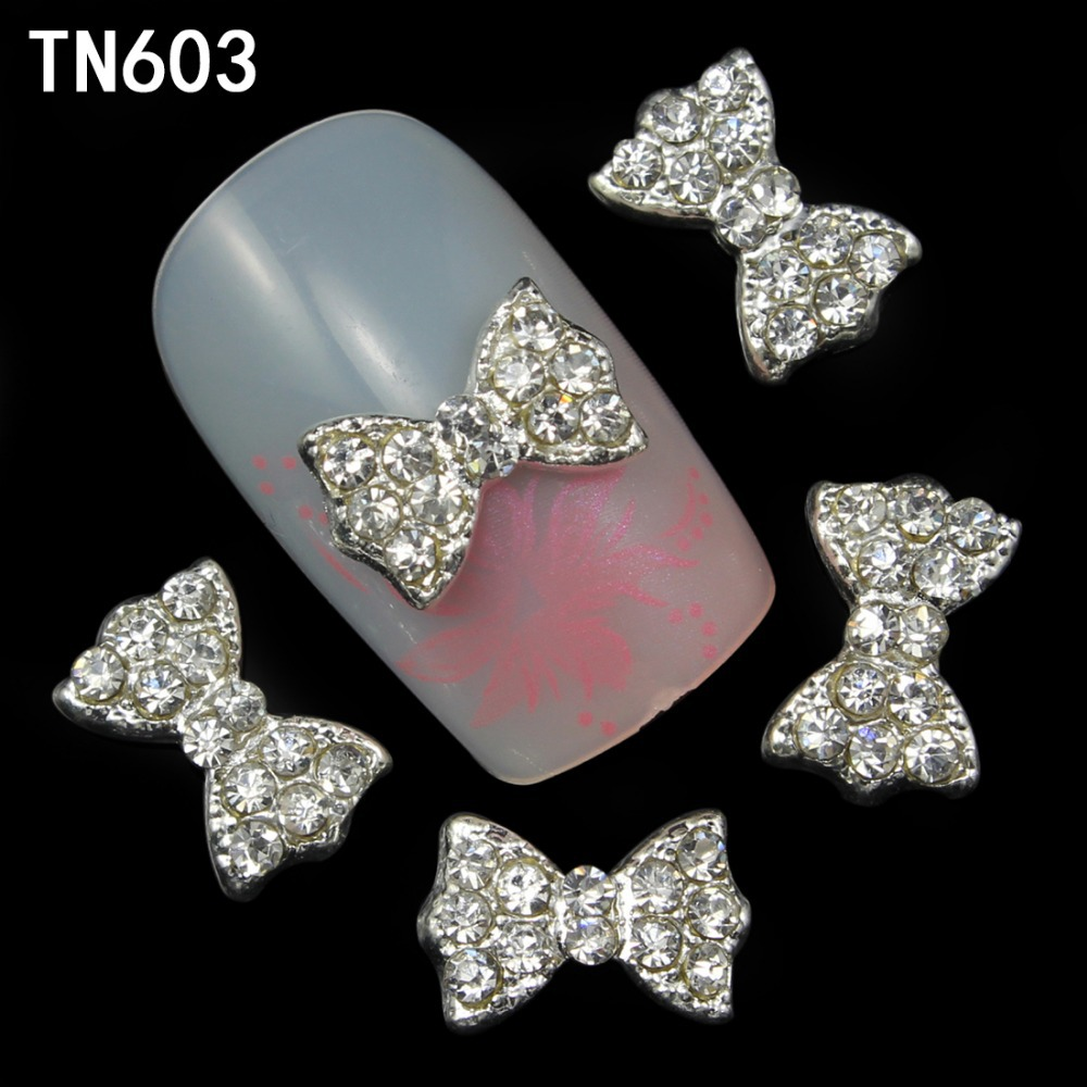 Blueness 10Pcs 3D Nail Bows Art Decorations with Rhinestones ,Alloy Nail Charms,Jewelry On Nails Salon Supplies TN603 5pcs nail art rings glitter square strass rhinestones nails decorations new arrive 3d nail jewelry nail art bows charms mns743