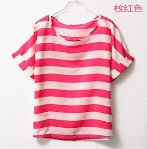 Imixbox Ladies' T-shirt Printed stripe loose chiffon T-shirt Free Shipping W4143