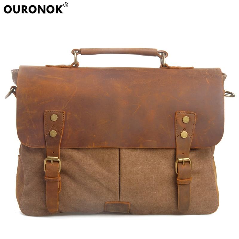 0a3cb6431568 OURONOK Холст Crossbody сумка Для мужчин сумка Винтаж плечевой ремень Для  женщин человек мужская сумочка Бизнес
