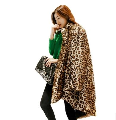 Celebrities Fashion Leopard Print Faux Fur coats outerwear Over-sized Sexy Warm autumn winter brand fur jackets