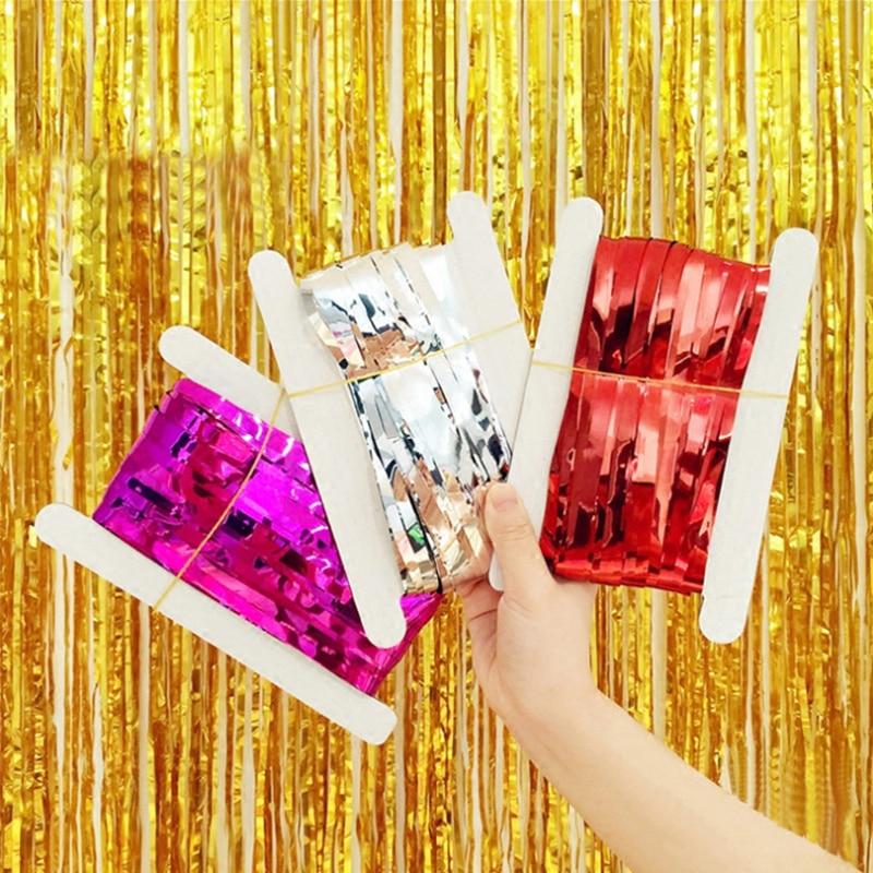 1 Pc 3ft X 8ft Metallic Folie Metallic Tassel Grlands Tafel Rok Party Stage Achtergrond Wedding Party Decor Om Een Gevoel Op Gemak En Energiek Te Maken