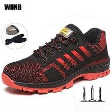Рабочие ботинки мужская Строительная уличная стальная обувь Мужская дышащая Нескользящая Высококачественная Мужская защитная обувь XL 35-46