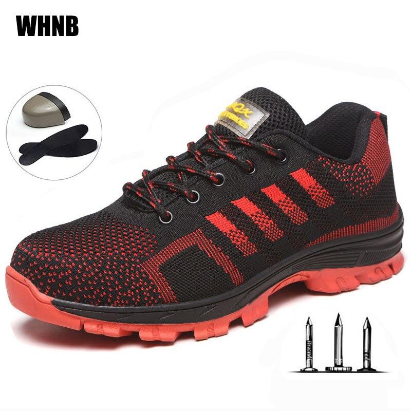 Botas de trabalho Dos Homens de Aço de Construção Ao Ar Livre Sapatos Homens Respirável Anti-perfuração Anti-ácaro Homens de Alta Qualidade Sapatos de Segurança XL 35-46