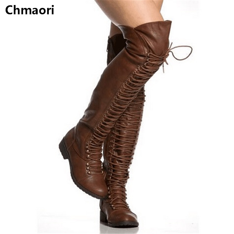 2017 Winter New Fashion Round Toe Knee-High thigh high Woman Warm Zipped Boots winter motorcycle sexy boots