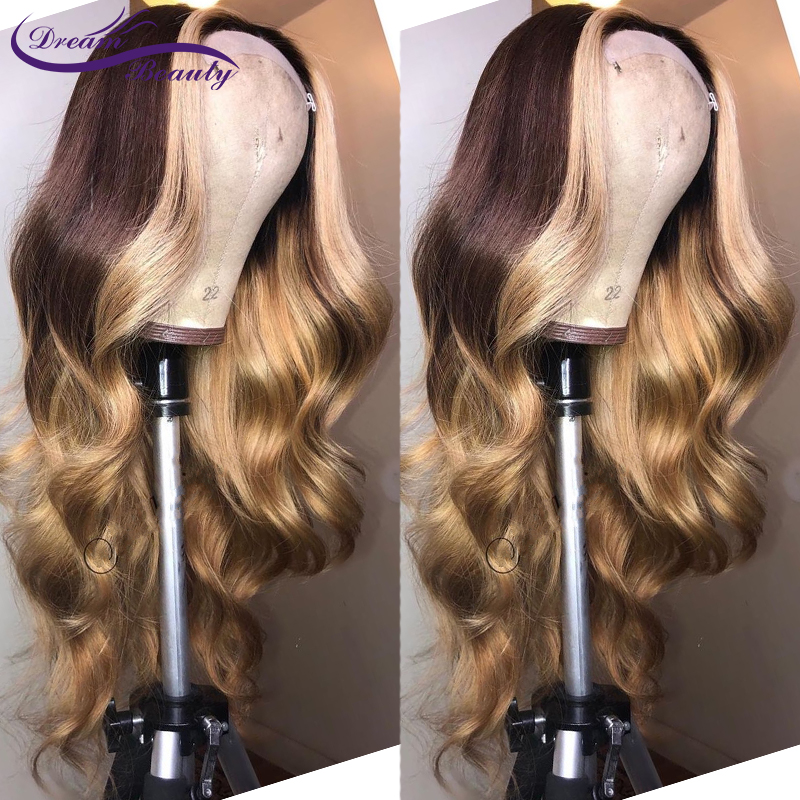 Ombre Glueless Human Hair Lace Front Wig 180 Remy Brazilian Wavy Hair Ombre Highlights Color PrePlucked