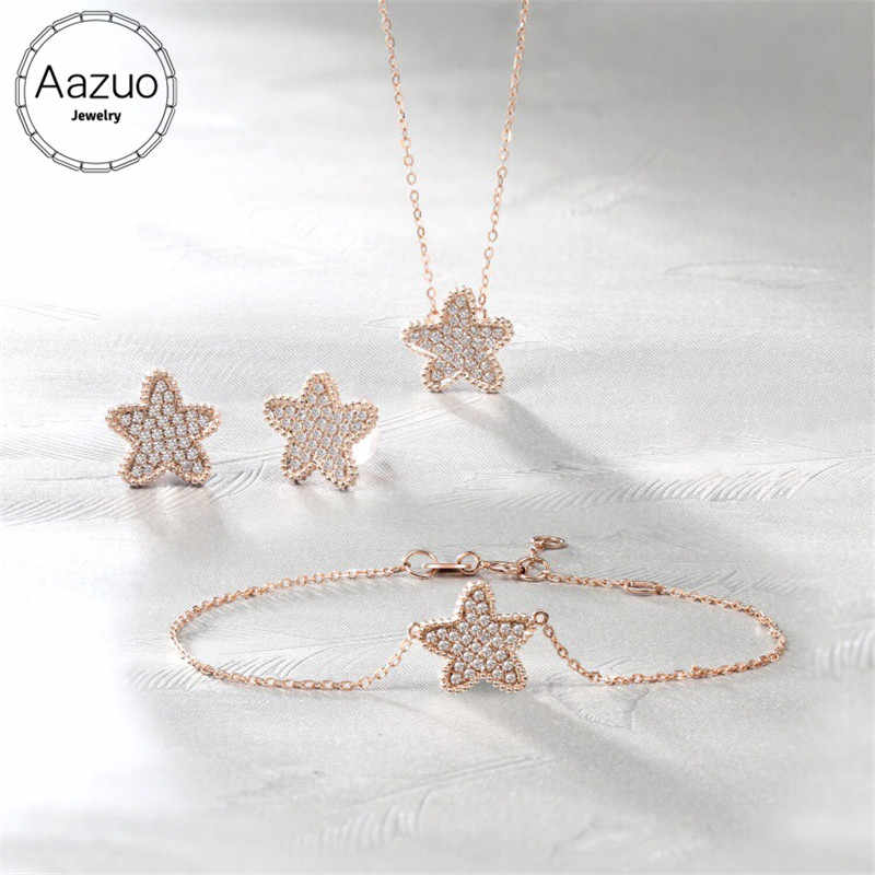 Aazuo 18K White Gold(Au750) Real Diamonds Jewelry Sets Sea Star Bracelet Necklace Earring Gifed For Women Engagement Wedding