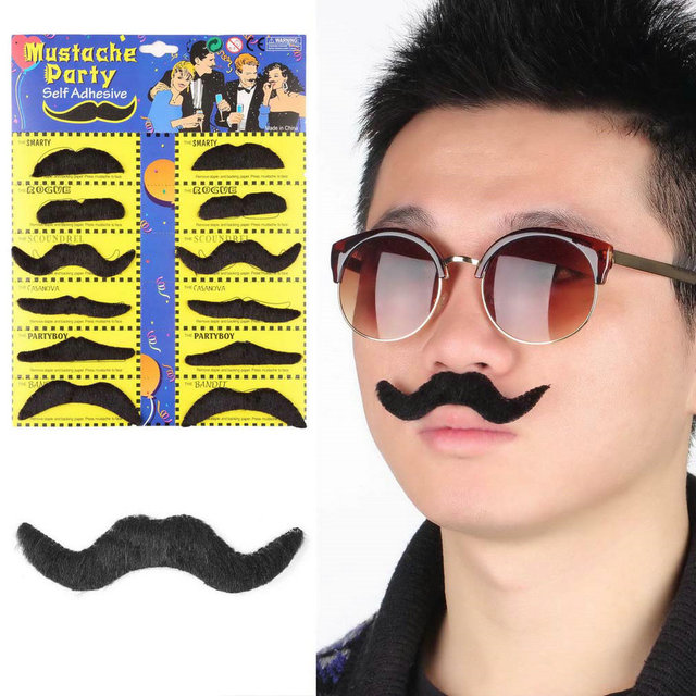 New 12pcs Funny Stylish Costume Party Fake Beard Mustache Party Halloween Fun Fake Mustache Moustache Beard