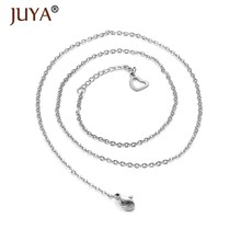 10pcs Simple Silver Color Stainless Steel Chains for pendant necklace making adjustable Lobster Clasp Link Chain Necklaces(China)