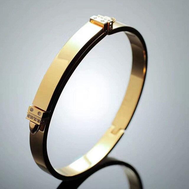 New Classic Luxury Brands Gold Plated Bracelets & Bangles for women Double Peach Heart Love charm Bracelet Female Jewelry