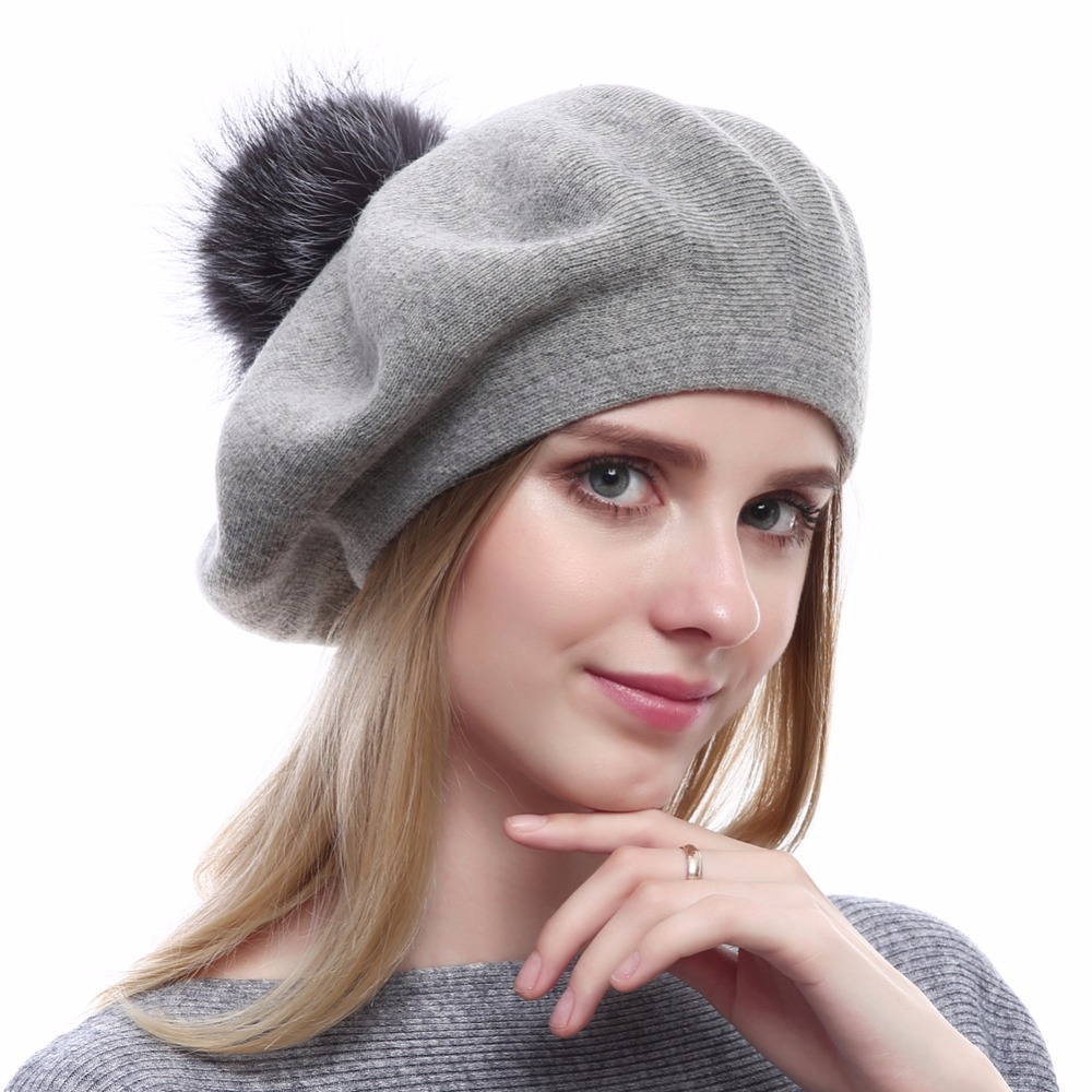 New Top Quality Beret Caps Women S Wool Knitted Hat Cotton Beanies With Real Silver Fox