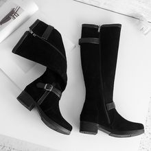 Big Size 9 10 11-13 thigh high boots knee high boots over the knee boots women ladies boots Belt buckle stitching side zipper(China)