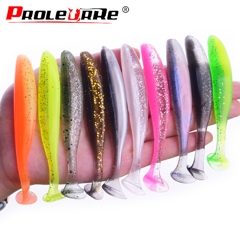 Proleurre Jigging Wobblers Fishing Lure 95mm 75mm 50mm shad T-tail soft bait Aritificial Silicone Lures Bass Pike Fishing Tackle(China)