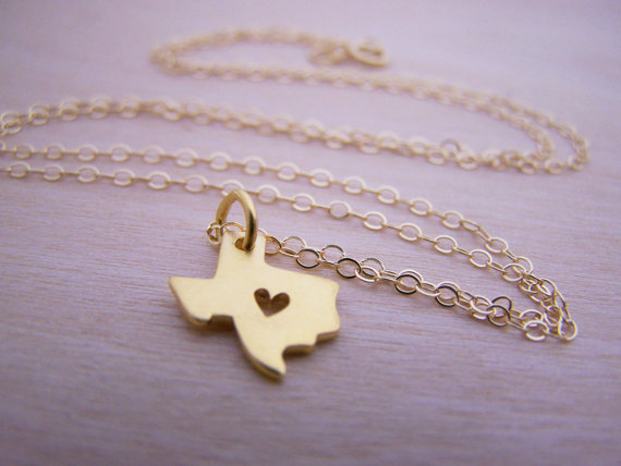 1pcs Outline Texas Map Necklace With Heart Usa Tx State Necklace I