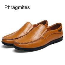 Phragmites 2019 Summer Breathable PU Leather Men Casual Shoes Fashion Slip On Non-leather Lightweight