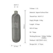 AC3011 Acecare HPA/Paintball/PCP/Carbon Firber Cilinder/Tank 1.1L 4500PSI 300bar voor Airsoft Uitlaat met PCP Pomp Bijvullen HOP