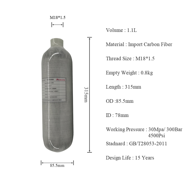 AC3011 Acecare HPA/Paintball/PCP/Carbon Firber Cylinder/Tank 1.1L 4500Psi Airsoft/Airforce Condor/Air Rifle/Air Compressed Gun
