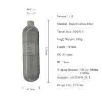 AC3011 Acecare HPA/Paintball/PCP/Carbon Firber Zylinder/Tank 1.1L 4500PSI 300bar für Airsoft Schalldämpfer mit PCP Pumpe Nachfüllen HOP