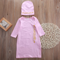Newborn Baby Girls Sleeping Bag Gown Wrap Hat Sleepwear Rompers Sleepsack Outfit Pink Sleeping Bags