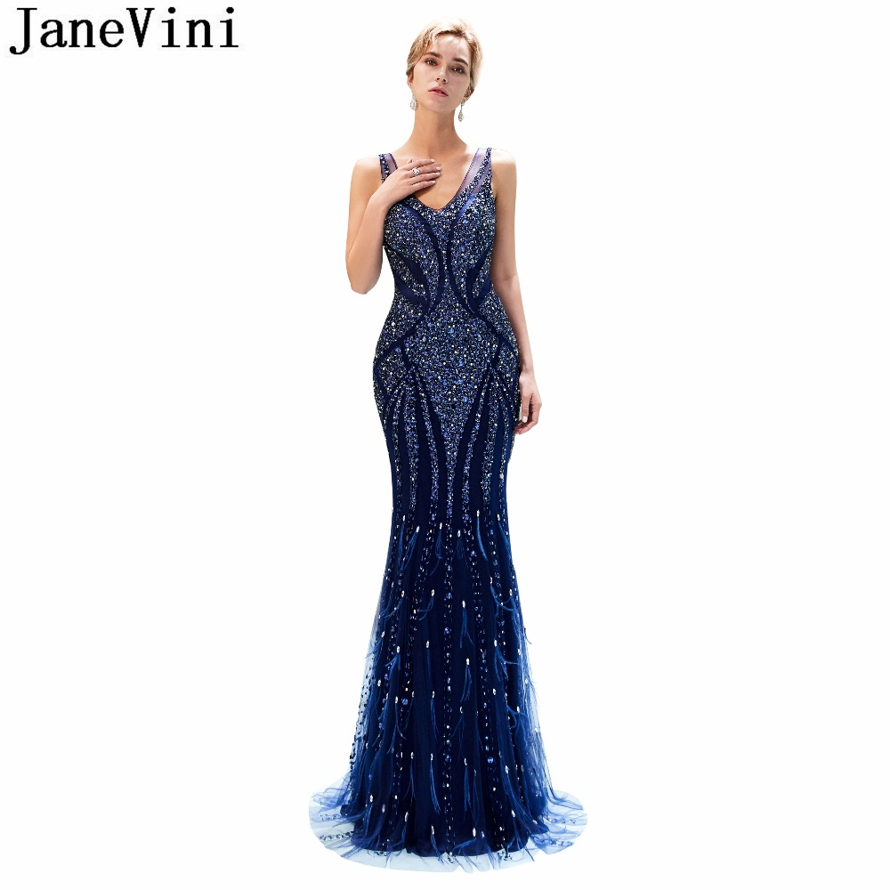 JaneVini Vintage Mermaid Long   Bridesmaid     Dresses   Sexy Deep V Neck Illusion Back 2019 Luxury Heavy Beaded Tulle Formal Prom Gowns