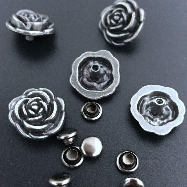 d85dad4ccfc 50PCS 14.5MM Antique Silver Flower Studs Rivet Punk Rose Spike Shoes Belt  Bag Accessories Leather