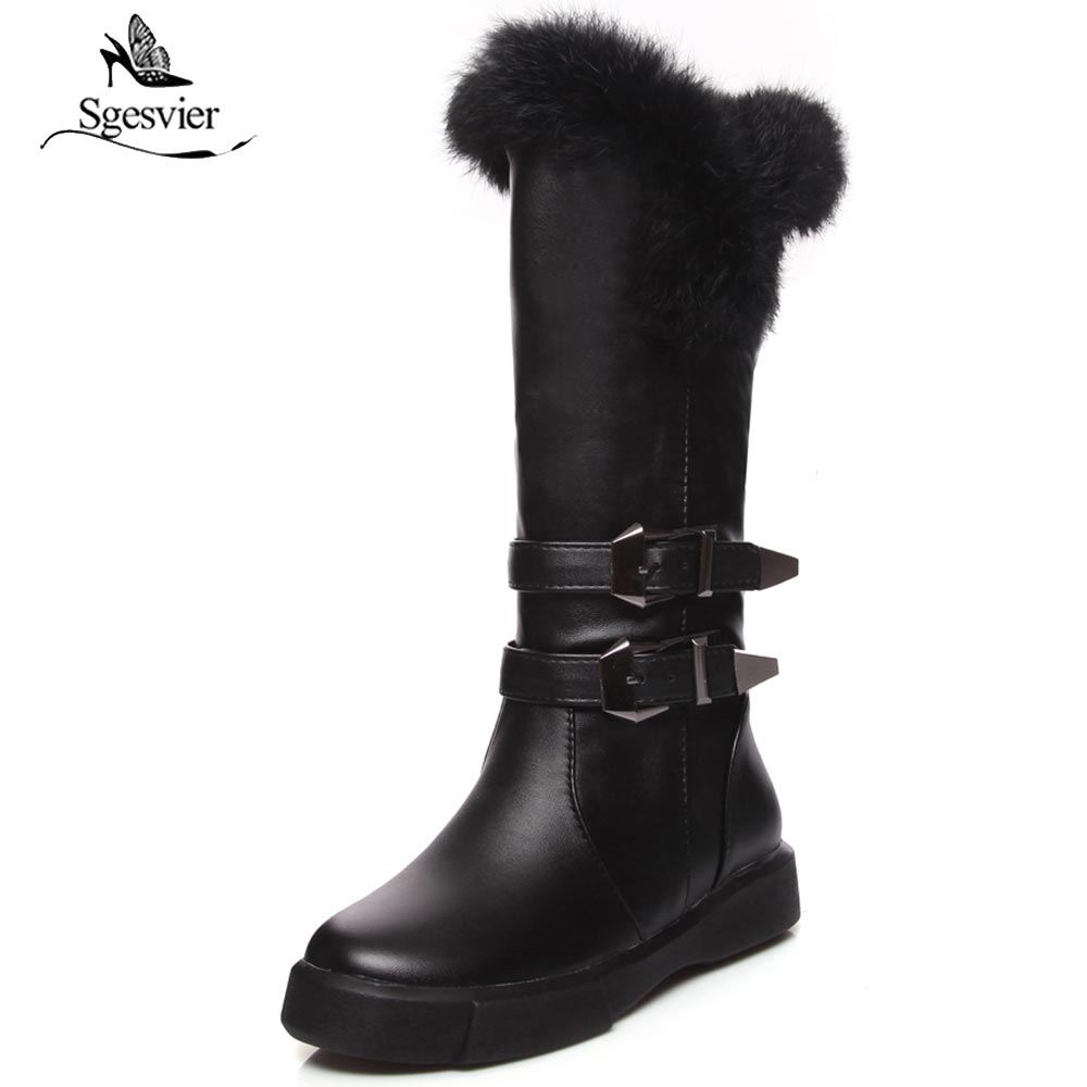 Sgesvier PU Leather Boots Flat Knee High Boots Black White Winter Comfortable Women Plush Snow Boots Large Size 34-43 OX898Sgesvier PU Leather Boots Flat Knee High Boots Black White Winter Comfortable Women Plush Snow Boots Large Size 34-43 OX898