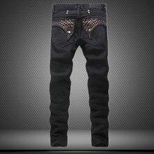 Горячая распродажа черные джинсы мужчины высокое качество упругие прямые джинсы 2016 джинсы тощий хип-хоп байкер уменьшают подходящие