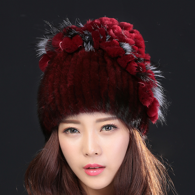 New Arrival women fashion winter fur cap natural mink hair hat flower shape good knitted mink warm hat for winter 2349 foreign trade explosion models in europe and america in winter knit hat fashion warm mink mink hat lady ear cap dhy 36