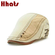 which in shower casual patchwork striped women visor bone high quality cotton men summer beret causal peaked cap male flat cap(China)