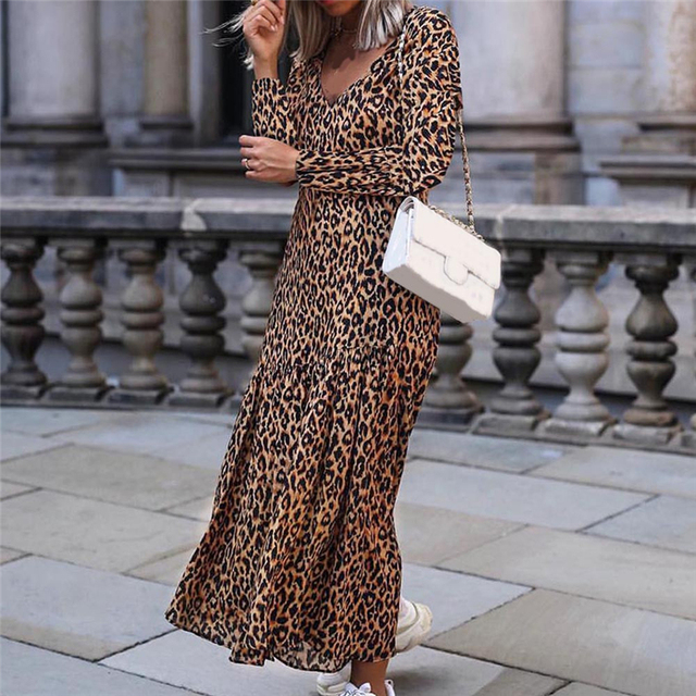 Women Leopard Print Ankle Length Autumn Winter Dress V Neck Long Sleeve  Retro Ladies Casual Chic Dresses Vestido F O29 4126e6a274ca