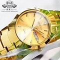 Business casual das mulheres dos homens relógios de Pulso Diamante semana relógios de ouro Da Moda casal de tungstênio de aço relógio de quartzo calendário à prova d' água