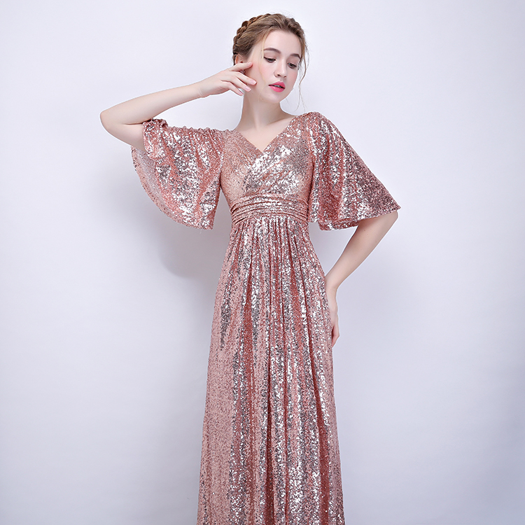 427c3d33cf US $99.0 40% OFF|JaneVini Rose Gold Sequined Bridesmaid Dresses Long Short  Sleeve Floor Length Women's Formal Party Gowns Vestido Boda Invitada-in ...