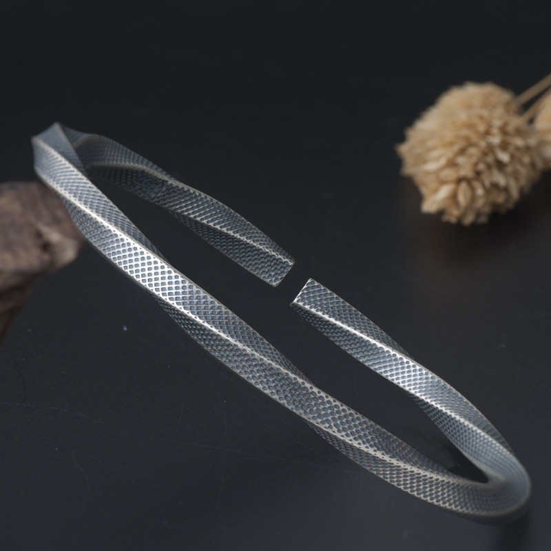 Pure Sterling Silver Cuff Bangle Bracelet Hand Back to the Ancients Retro Bracelets for Women delicate silver cuff bracelet for women page 5