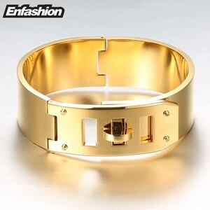 Image 3 - Enfashionジュエリーパンクベルト幅バックルカフブレスレットゴールドカラーのステンレス鋼の腕輪ブレスレット女性のブレスレットpulseiras
