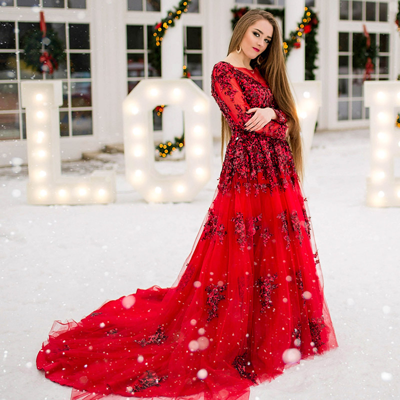Gold mit elfenbein Abendkleider Kristall 2018 Langen Ärmeln Prom Kleider Lange fomal kleid robe de soiree vestido longo de festa