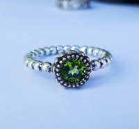 Wellmade Ladies Oxidized Solid 925Sterling Silver&Real Olive Stone Ring