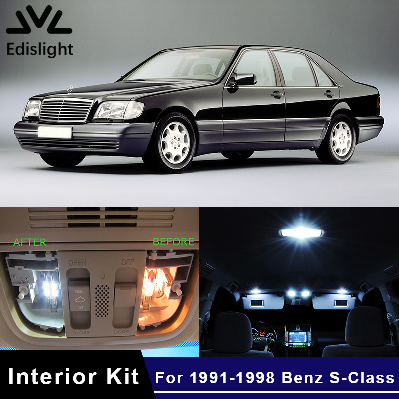 Edislight 11Pcs No Error Canbus LED Lamp Car Bulbs Interior Package Kit For 1991-1998 <font><b>Mercedes</b></font> Benz S-Class Map Dome Plate Light image