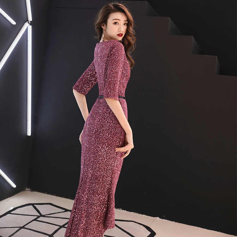 זה YiiYa שמלת ערב רויאל יין אדום הניצוץ חצוצרה המפלגה שמלות O-צוואר חצי שרוולי בת ים פורמליות שמלות E345