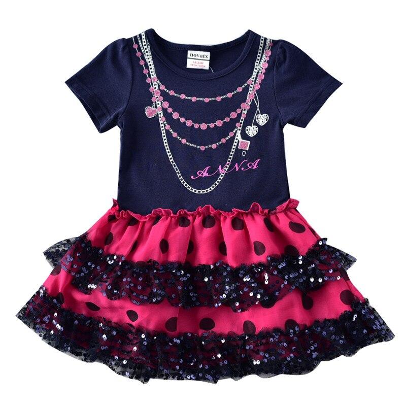 novatx 2-6T Bawełna w paski krótkie sukienki dla dzieci kreskówka - Ubrania dziecięce - Zdjęcie 3