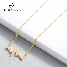 Todorova Fashion Wave Heart Beat Arrow Pendant Necklace Romantic ECG Heartbeat Clavicle Chain Necklaces for Women Jewelry