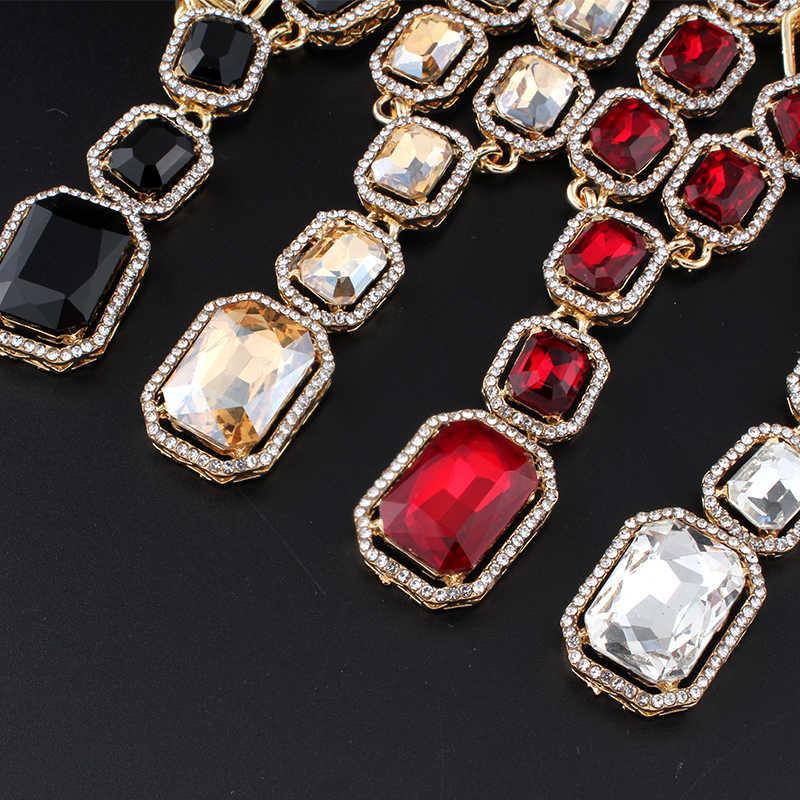 Jiayijiaduo Bridal Pesta Pernikahan Perhiasan Parvis Bijoux Femme Hadiah Perhiasan Set untuk Wanita Warna Emas Kuning Kalung Kristal