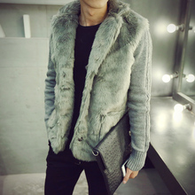 Jacket Men Thick Faux Fur Patchwork Jackets Mens Winter Padded Casual Knitted Sweater Cardigan Coats Outwear Sweatshirts Parkas