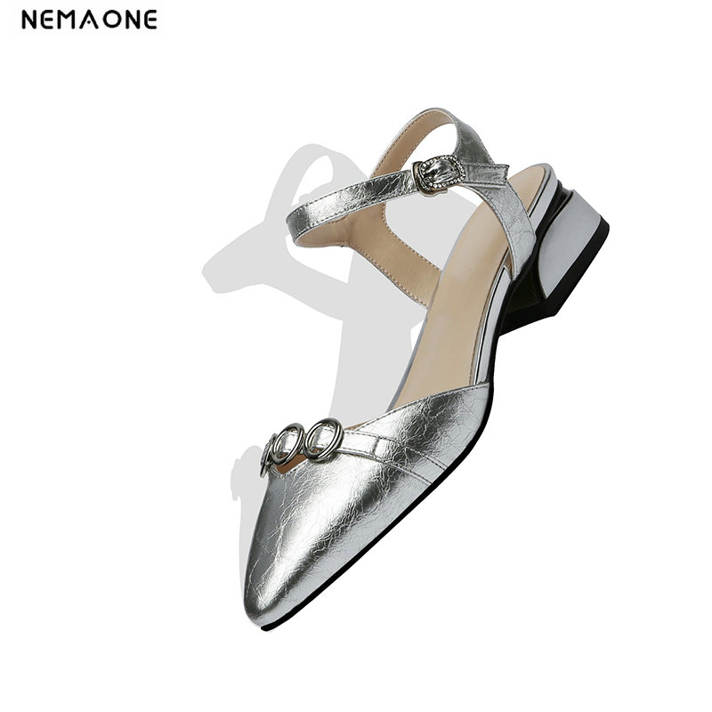 NEMAONE genuine leather low heel Sandals women shoes ladies party dress shoes woman blue silver women
